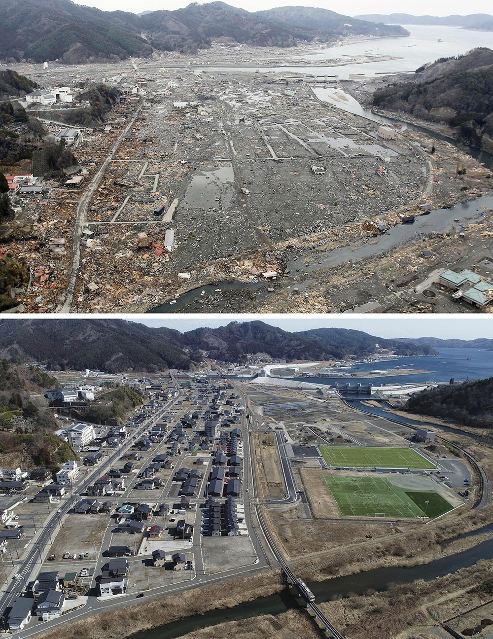 当地时间2011年3月23日(上图)和2021年2月25日(下图)。日本岩手县大槌,海啸受灾地区对比图。