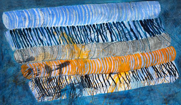 贝特杭作品《大木筏》,2018,纸本综合媒材,150 x 250公分