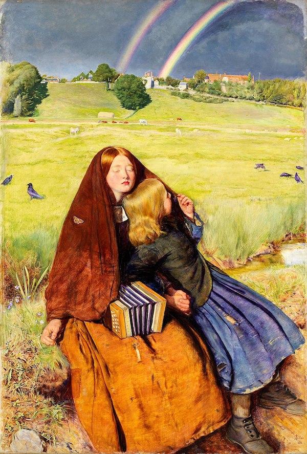 约翰·米莱《盲女》(The Blind Girl,1856),现藏于英国伯明翰博物馆与美术馆