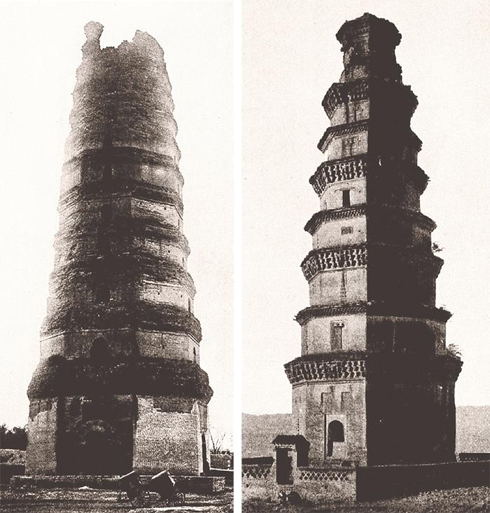 河南郑州的八角塔。共十三层,高79米,建于公元713—742年。(左); 河南常乐寺的八角塔。共九层,高约40米,约建于唐朝后期。(右)见于《中国佛教史迹》