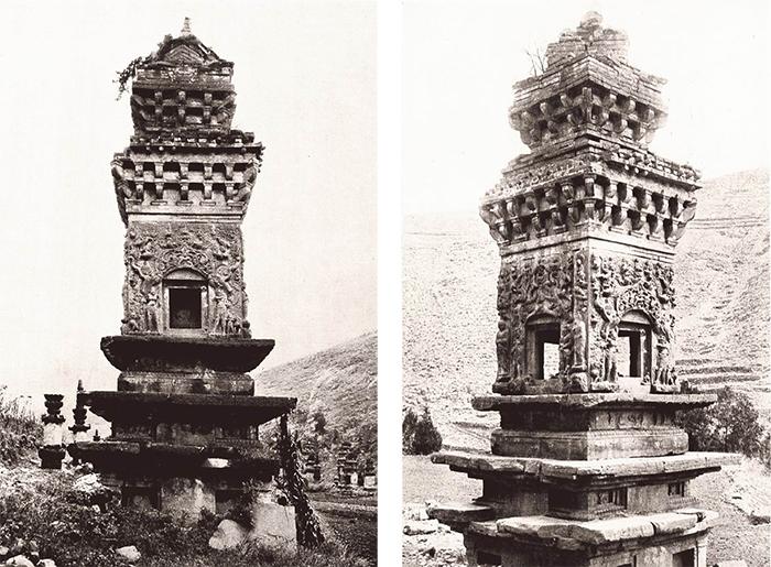 山东神通寺的朗公塔。砖石材质,平面为方形,高13米,约建于公元900年左右,上方砖制结构建成时间可能更晚。喜仁龙拍摄 (左); 朗公塔细节(右)