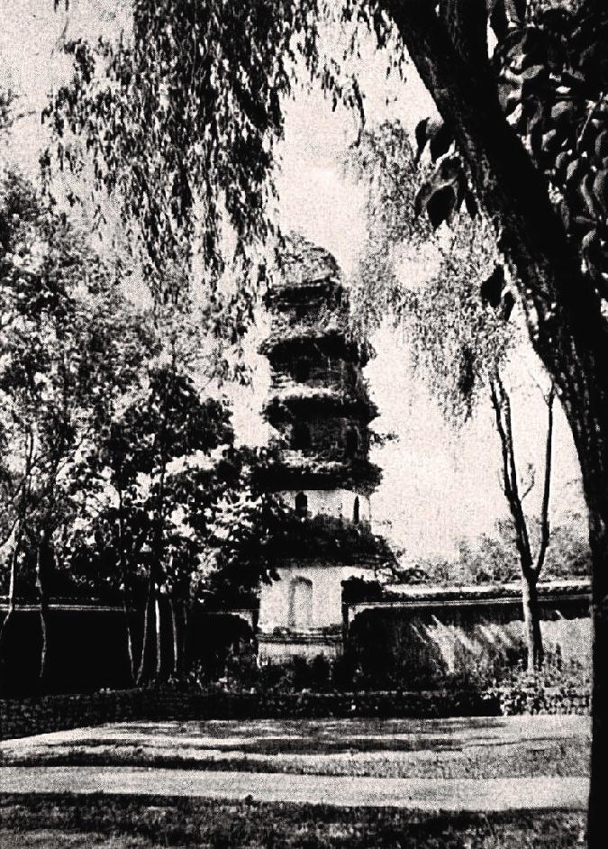 浙江宁波府一座寺庙花园中的方形宝塔。伯施曼拍摄