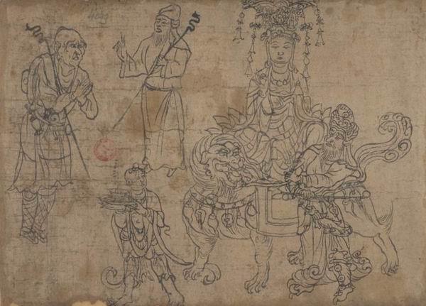 法国国家图书馆藏白描骑狮文殊五尊像 P.4049