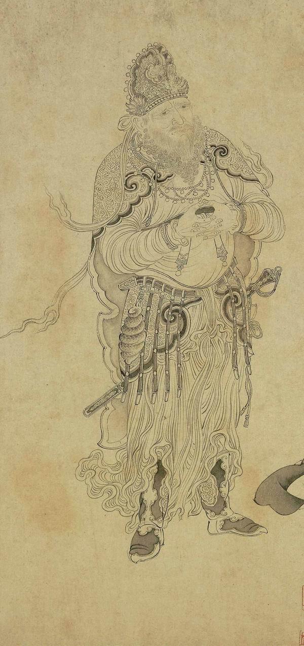 故宫博物院藏宋李公麟(传)绘《维摩演教图》卷局部