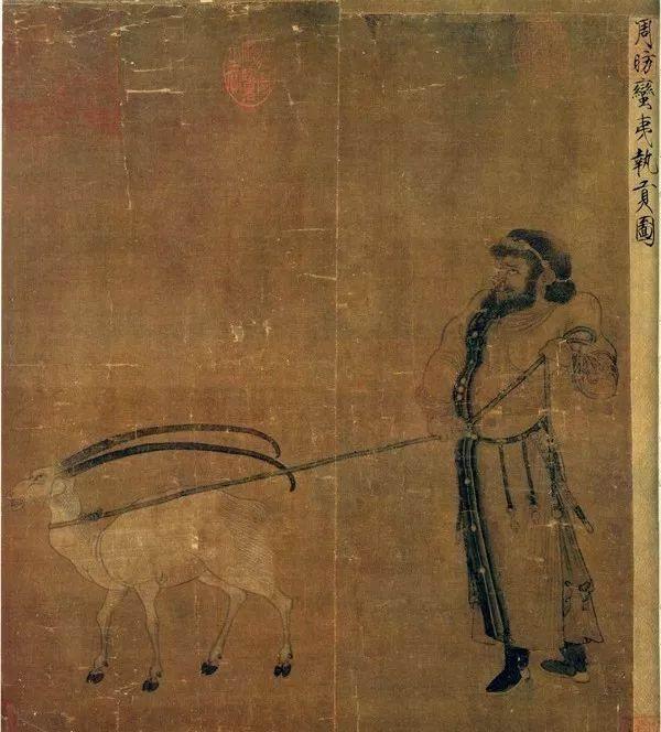 台北故宫博物院藏周昉《蛮夷执贡图》局部