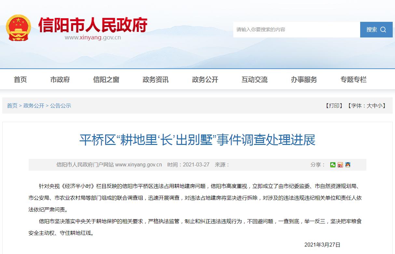 信阳市人民政府网站公告截图