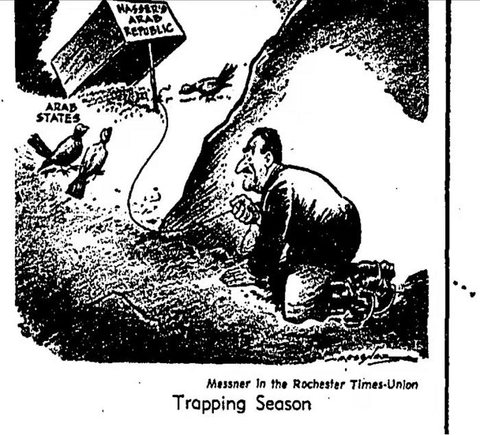 """图1,1958年2月23日《洛杉矶时报》刊载的一张漫画,指责纳赛尔""""吞并叙利亚""""后,必然得陇望蜀,还要吞并其他阿拉伯国家。"""