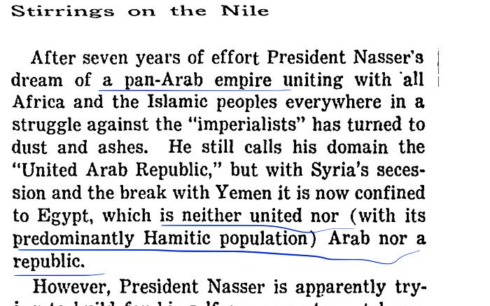 """图4,1961年9月,叙利亚反对派势力通过政变退出阿联。纳赛尔被迫接受了叙利亚分离的事实,但仍然保留了阿拉伯联合共和国的国号、国旗,以坚守阿拉伯统一的理念。为此,《纽约时报》有文章模仿伏尔泰讽刺神圣罗马帝国的口吻,嘲讽仅存埃及一隅的阿拉伯联合共和国""""既非联合,也非阿拉伯,更不是一个共和国""""。"""