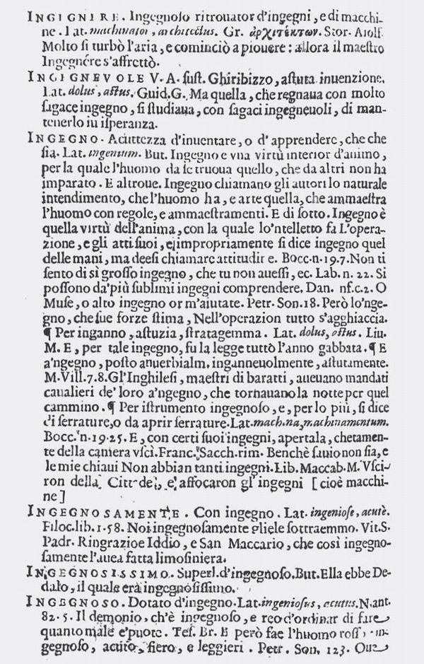 """辞典中的""""智巧""""(ingegno)词条页"""