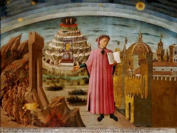 多梅尼克∙迪∙米凯利诺,《但丁像》,现藏圣母百花大教堂壁画,1465年