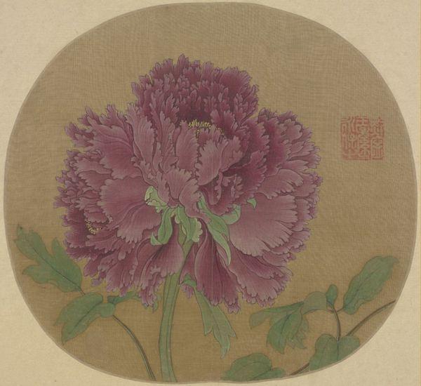 宋 《牡丹图》页 纨扇页 绢本设色 故宫博物院藏
