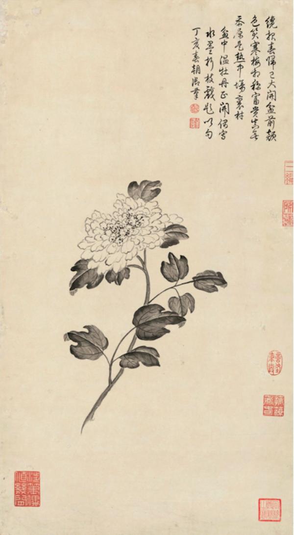 清 弘历 《折枝牡丹图》轴 故宫博物院藏