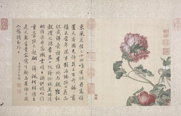 清 郎世宁 《花鸟图》册之牡丹 故宫博物院藏