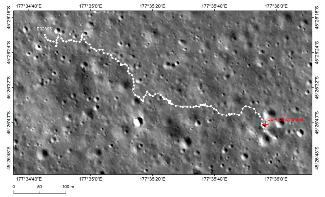 """图1:""""玉兔二号""""月球车巡视路径图。 本文图片""""中国探月工程""""微信公号"""