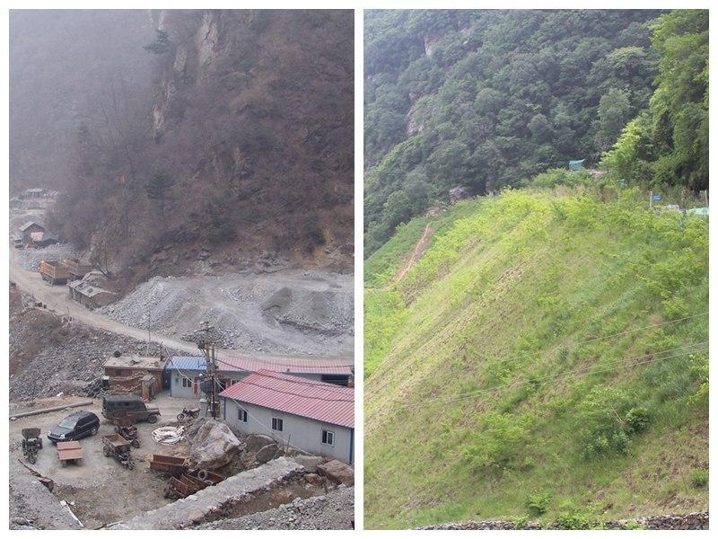 灵宝金源公司1308坑口整治前(左图)和整治后(右图)对比图。
