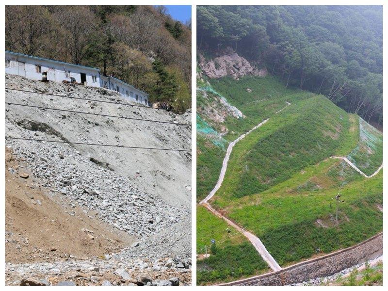 老鸦岔1770坑口整治前(左图)和整治后(右图)对比图。