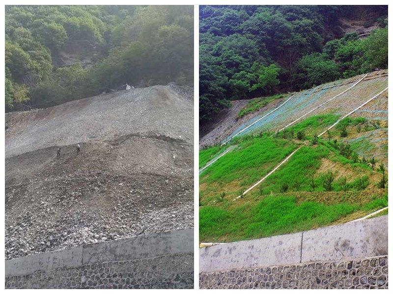 文峪金矿1515坑口整治前(左图)和整治后(右图)对比图。