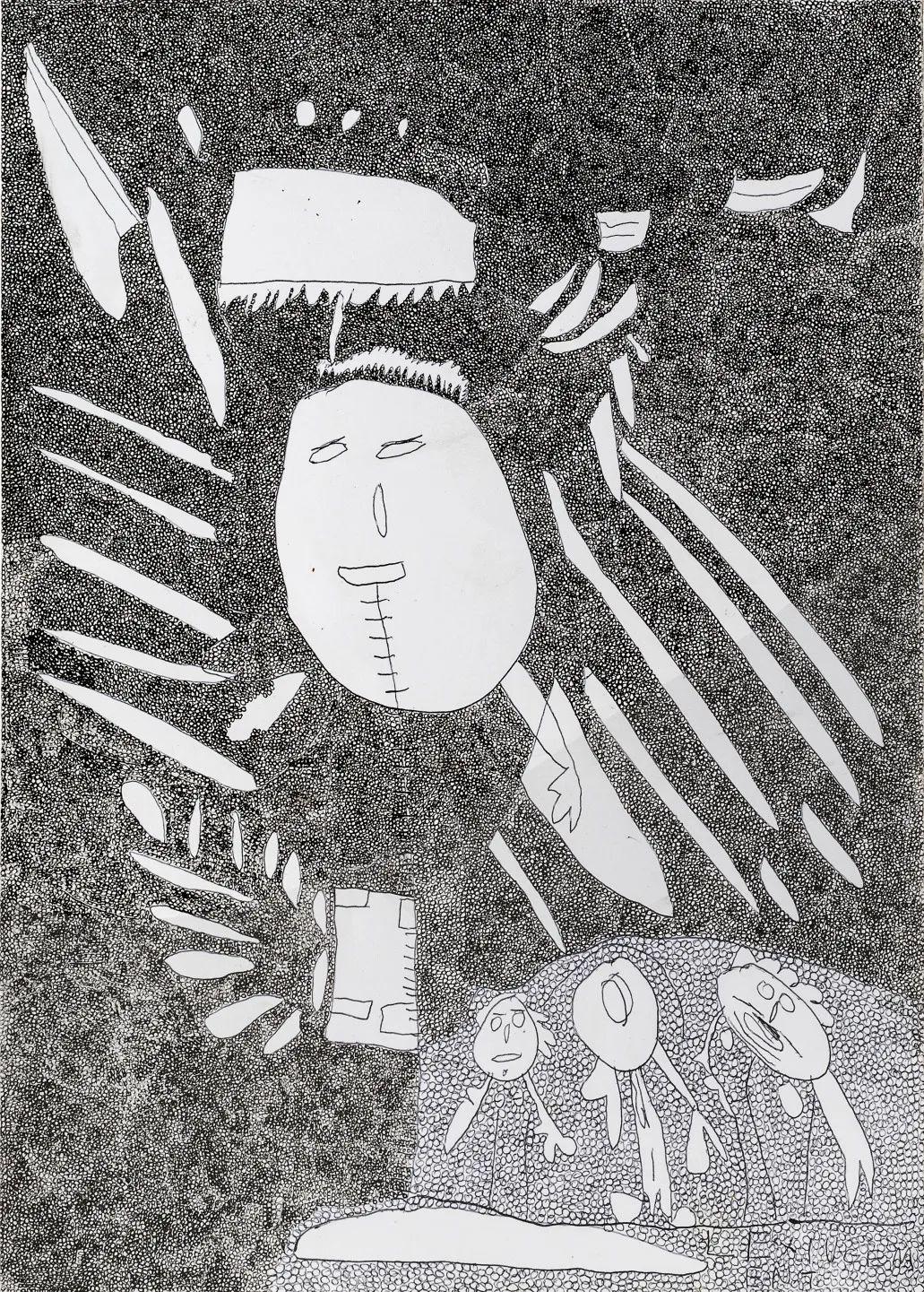 玛丽亚·拉帕斯托拉,《无题》,2019,纸上细水彩笔,30 x 21 cm。艺术家供图。