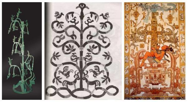 三星堆青铜树(左)、萨满树形象(中)与玛雅的萨满树形象(右)