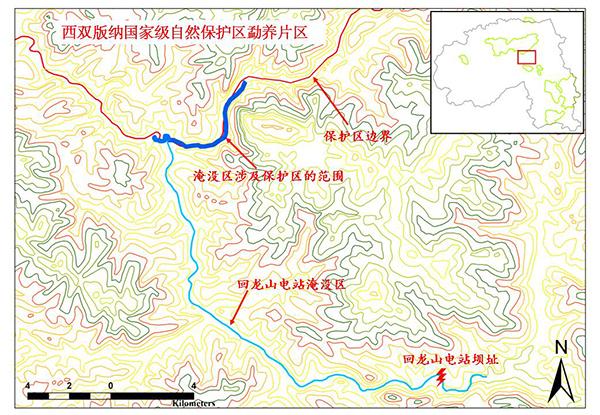 保护区边界图。