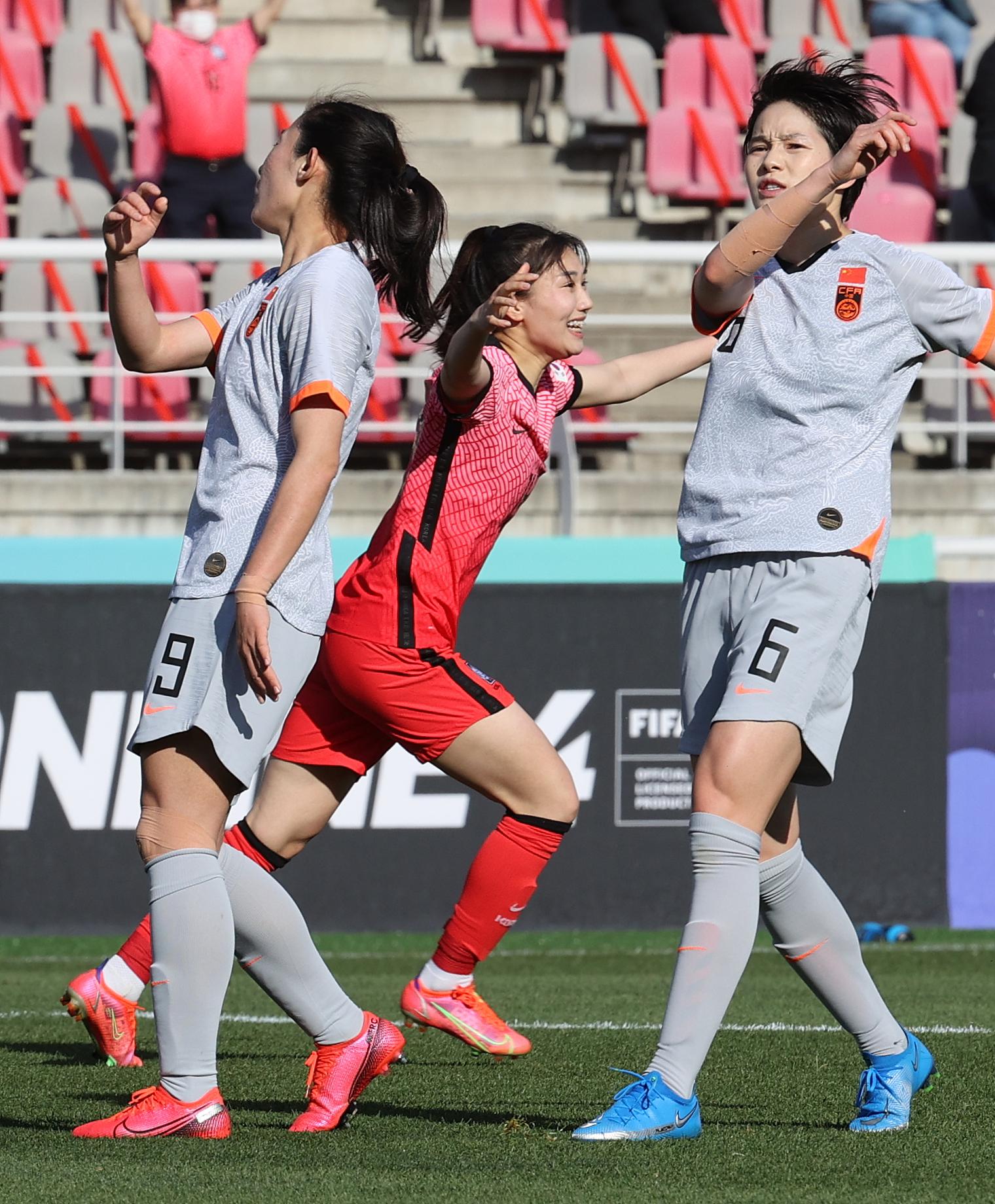 韩国女足扳平比分。