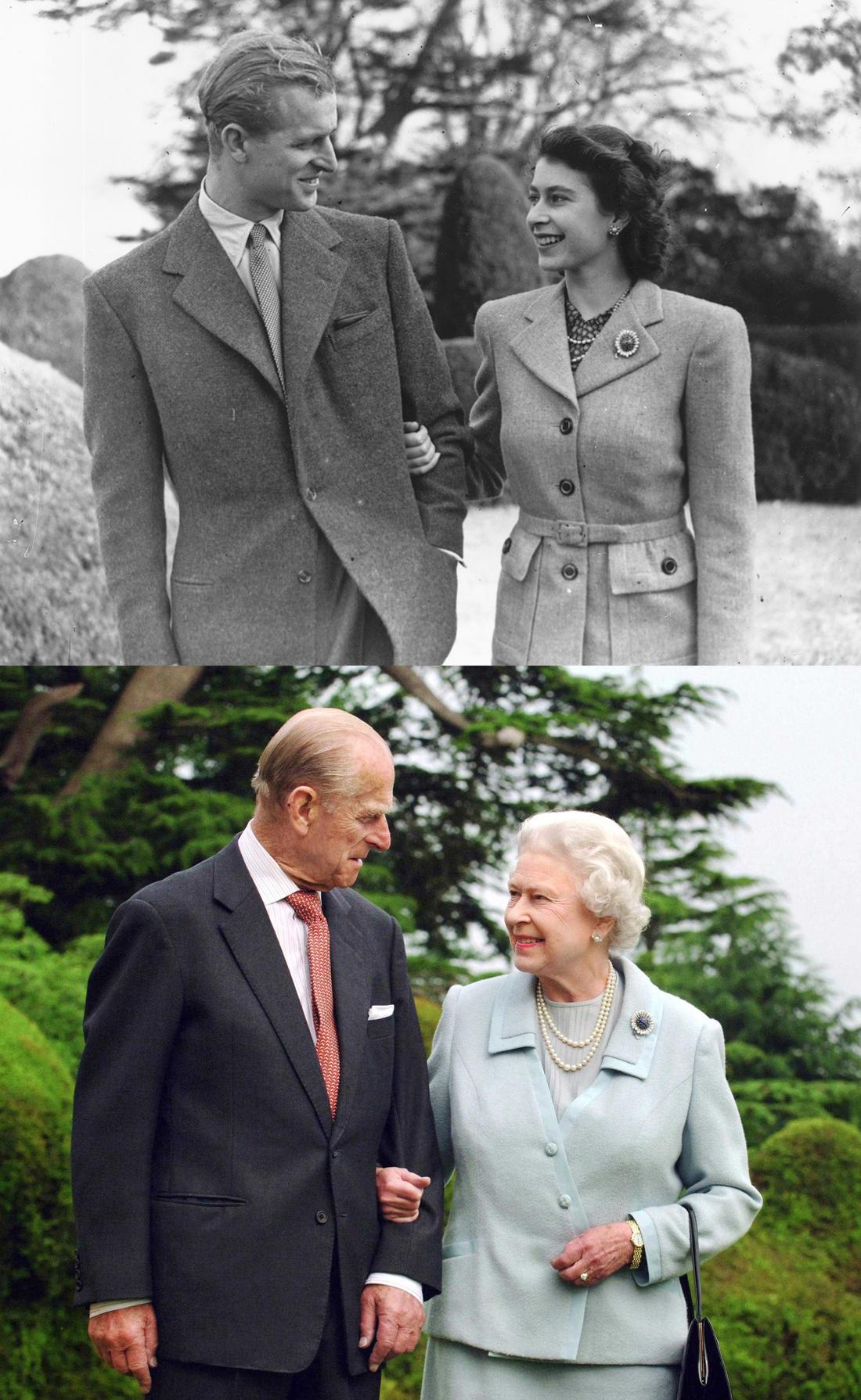 上图:1947年11月24日,伊丽莎白公主和菲利普在布罗德兰兹庄园度蜜月时携手散步。下图:2007年,结婚60周年之际,英国女王伊丽莎白二世和菲利普亲王在同样的地方拍了张同样动作的照片。