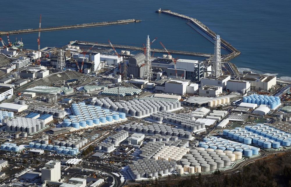 当地时间2021年4月8日,日本东京,日本政府计划于当地时间4月13日召开内阁会议,届时将决定核污水排入大海。航拍福岛第一核电站(资料图)。