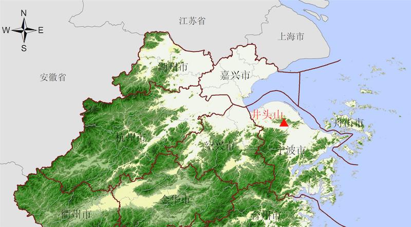 井头山遗址地理位置图