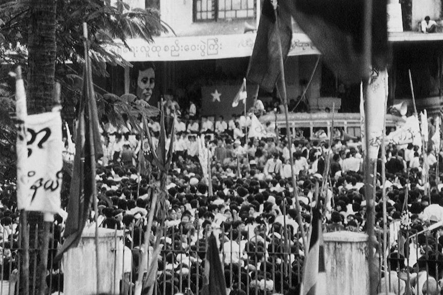 1988年游行示威场景。图源:美联社