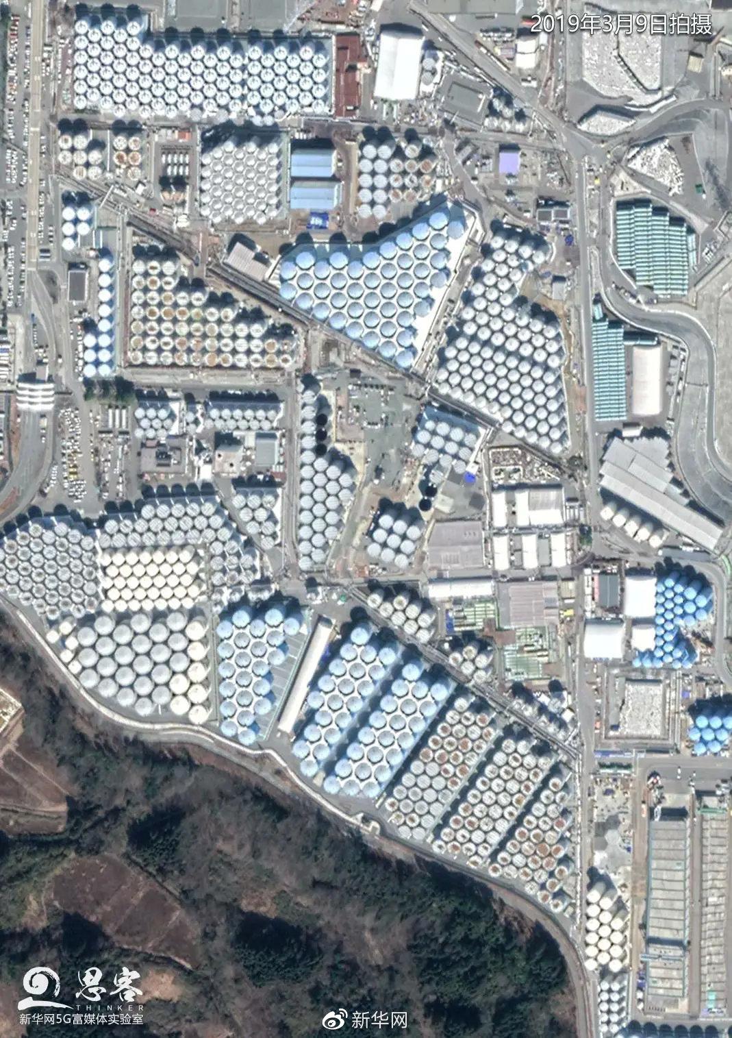 日本福岛第一核电站内的核废水储存罐密密麻麻地摆放着。卫星数据来源:MAXAR