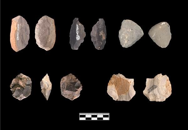 遗址出土的打制石器