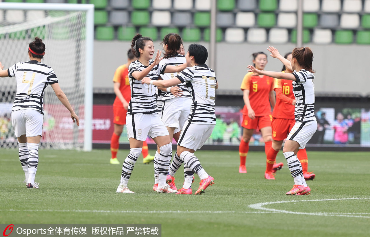 韩国女足庆祝进球。
