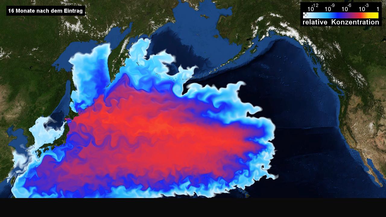 """德国海洋科学研究机构""""基尔亥姆霍兹海洋研究中心""""(GEOMAR)对核废水扩散速度和影响的模拟效果图。图源:GEOMAR官网"""
