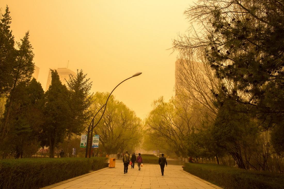 4月15日上午,内蒙古呼和浩特市遭遇沙尘袭击,天空陷入昏黄。人民视觉 图