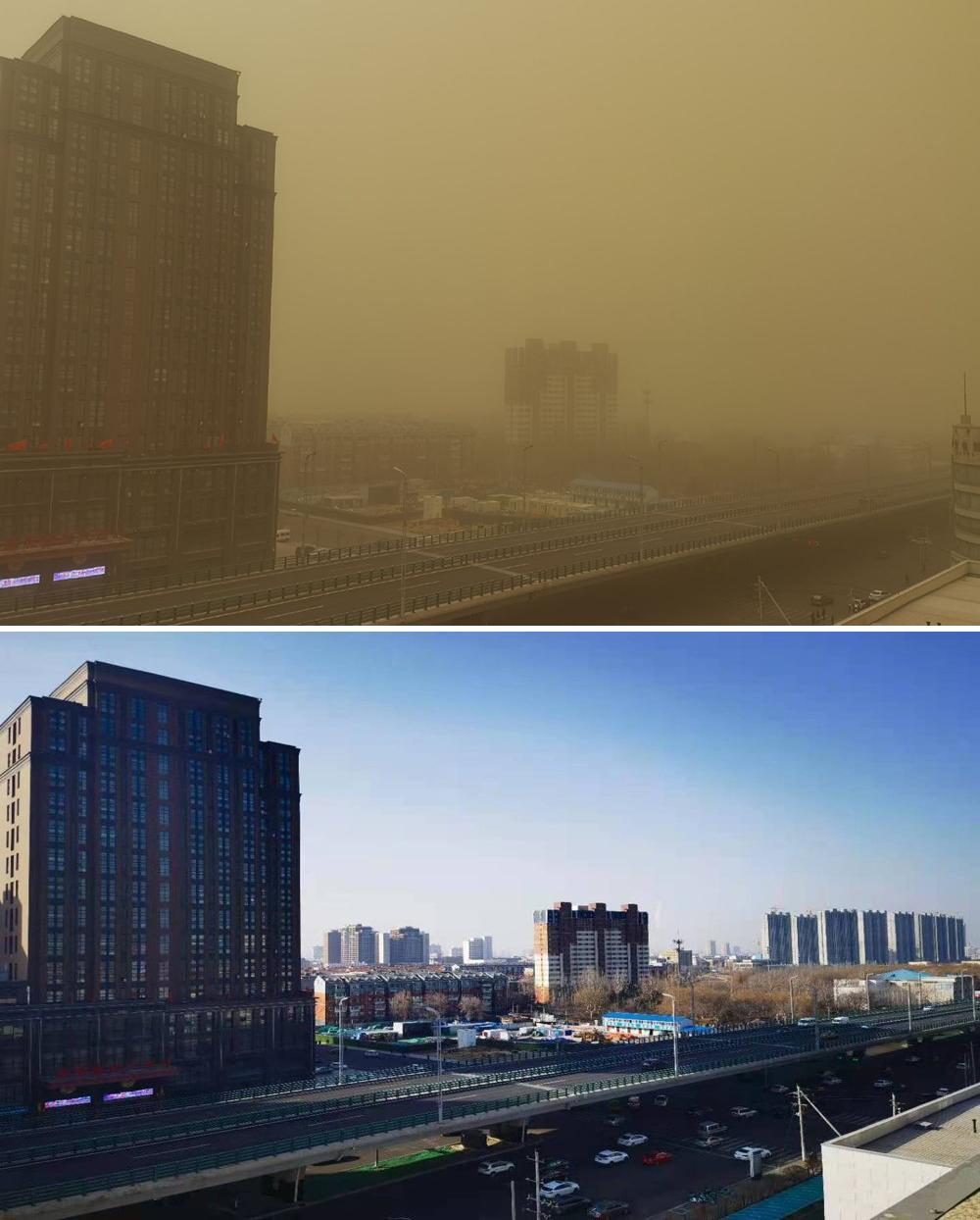 4月15日(上)和3月3日(下)拍摄的内蒙古呼和浩特市沙尘暴前后对比。@内蒙古天气 图