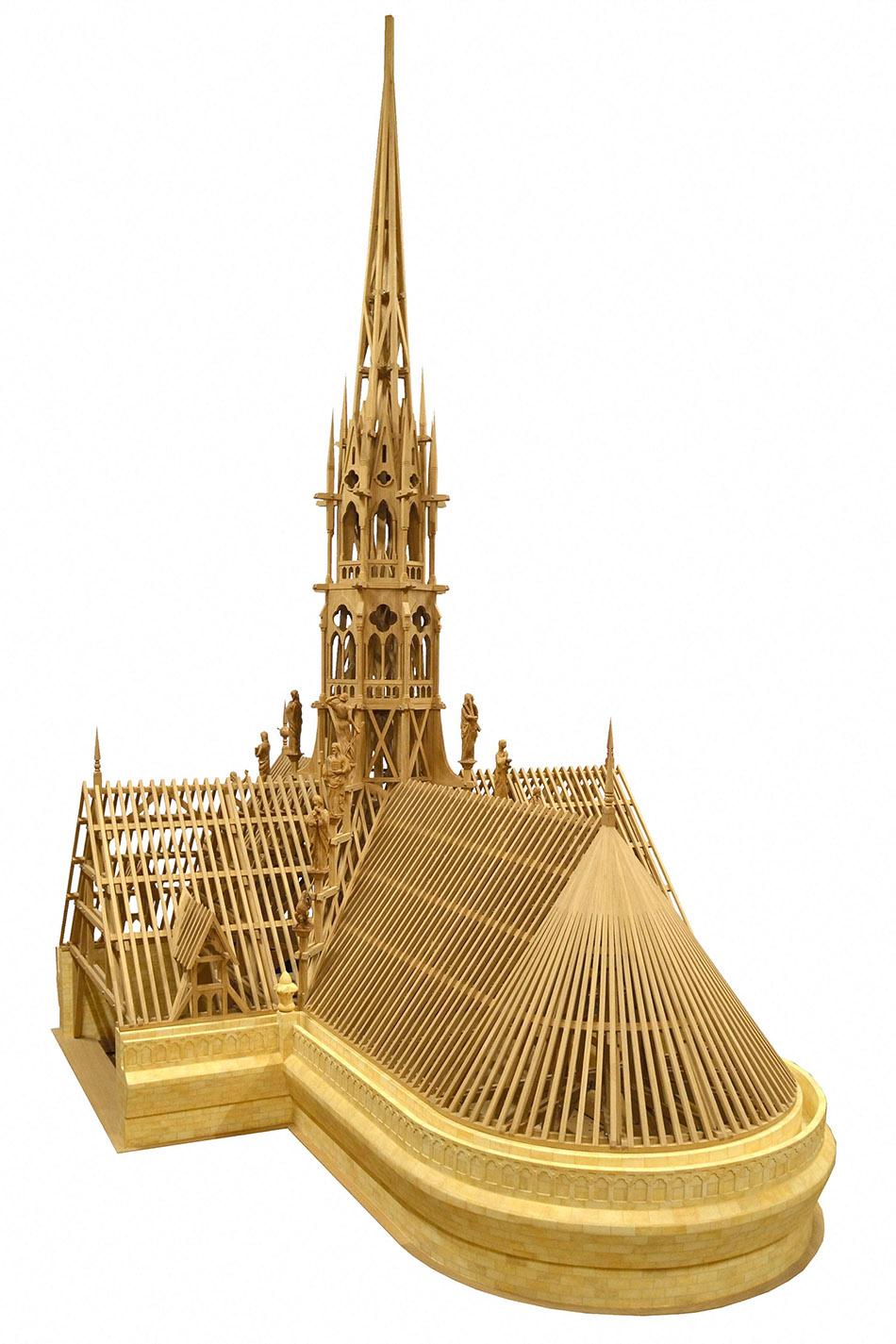 当地时间2021年4月15日,Federation Compagnonnique d'Anglet组织公布巴黎圣母院被毁坏部分的木质模型。