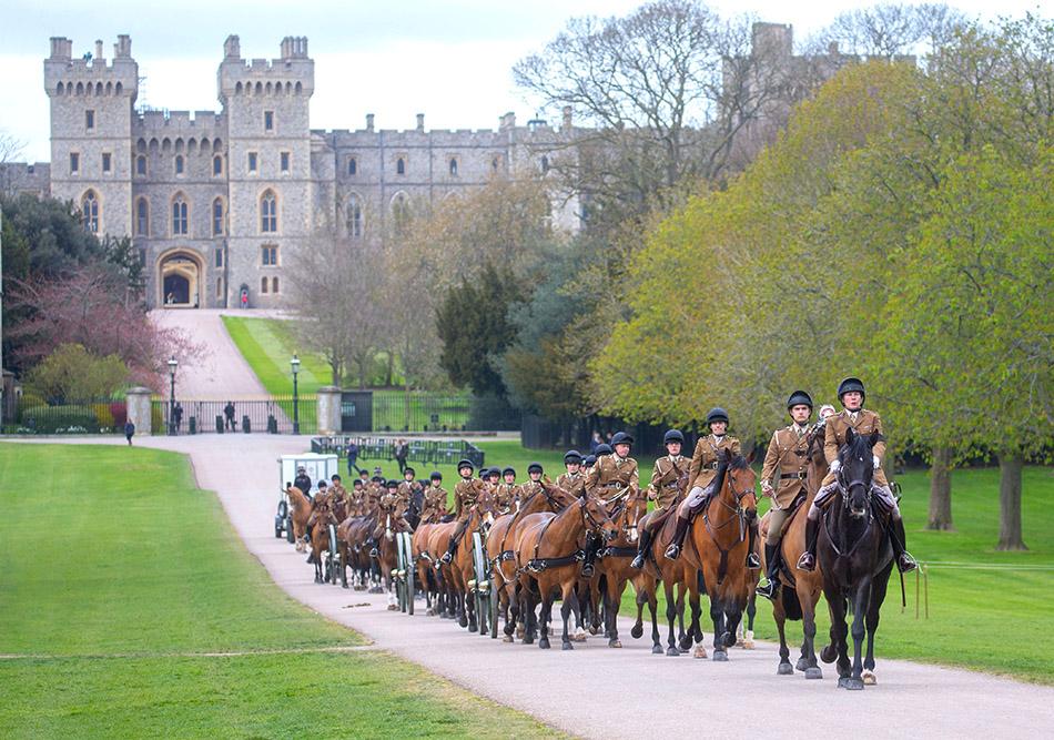 当地时间2021年4月15日,英国温莎,英国举行菲利普亲王葬礼彩排。