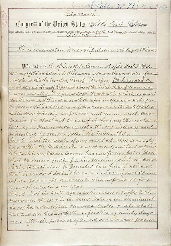 1882年《排华法案》。