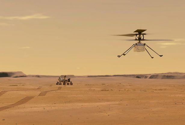 """当地时间2021年3月23日,NASA公布火星""""机智""""号直升机在火星表面试飞的演示图。"""