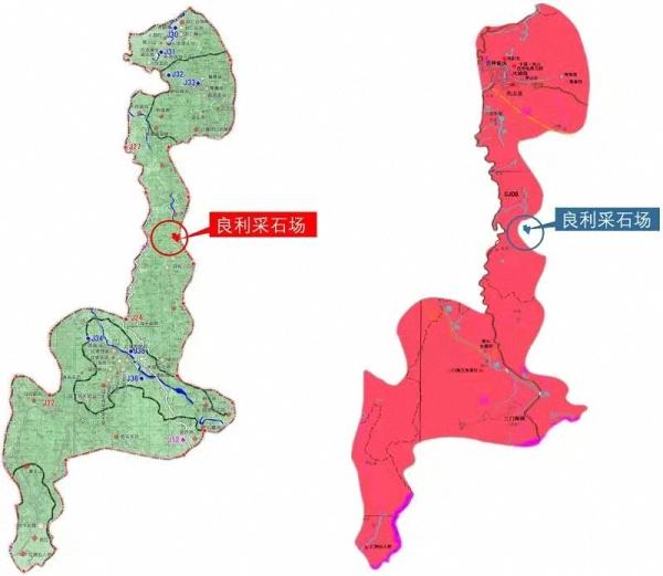 左侧为2010年批复的《公园规划》中地质公园边界图,良利采石场位于边界内;右侧为2018年出台的《凤山县矿产资源总体规划(2016-2020年》附图,将良利采石场调出公园范围。