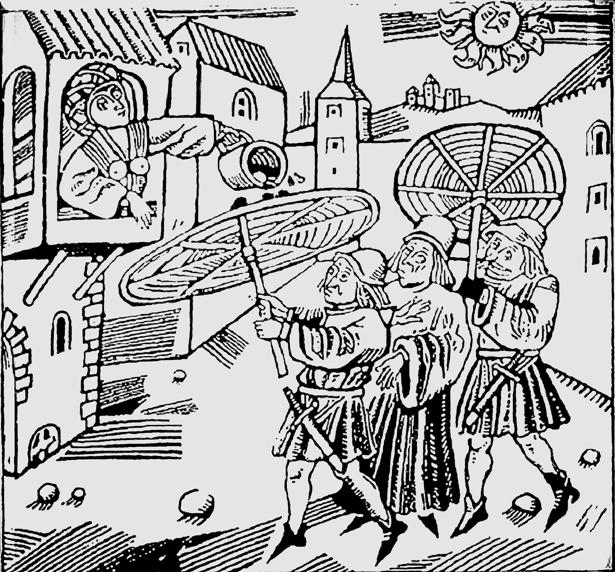 """欧洲中世纪城市的街道,行人打伞防备""""从天而降"""" 的尿粪。"""