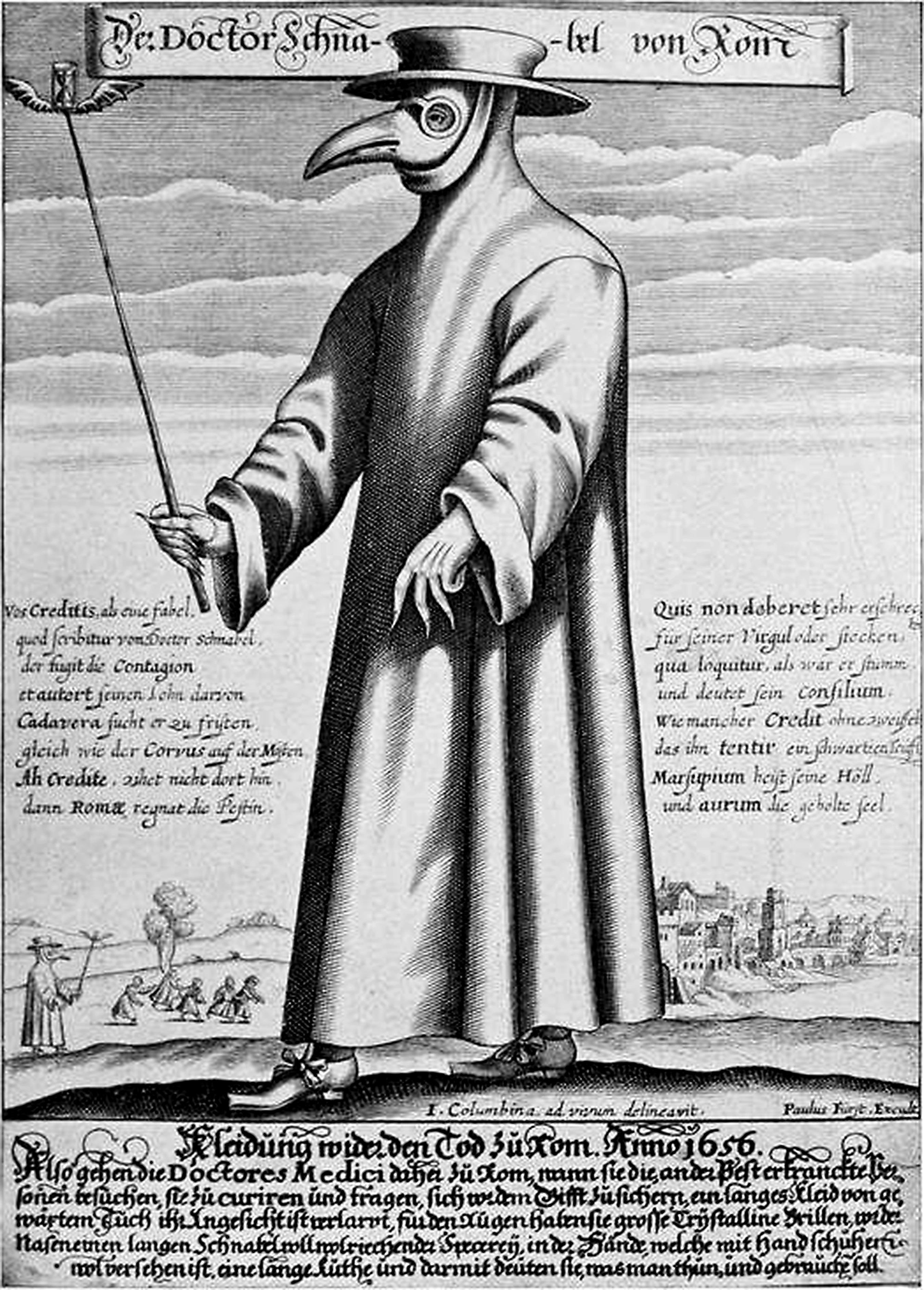 医学用口罩的雏形是欧洲十七世纪应对黑死病的鸟嘴面具