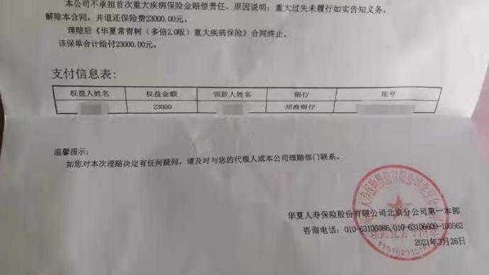 购重疾险后患癌理赔遭拒并被退保,华夏人寿:未履行告知义务