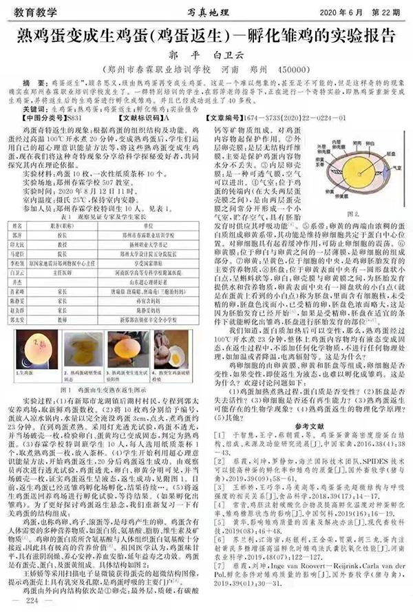 《熟鸡蛋变成生鸡蛋(鸡蛋返生)-孵化雏鸡的实验报告》文章截图