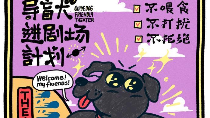 """国际导盲犬日,上海话剧艺术中心迎来了8位导盲犬""""观众"""""""