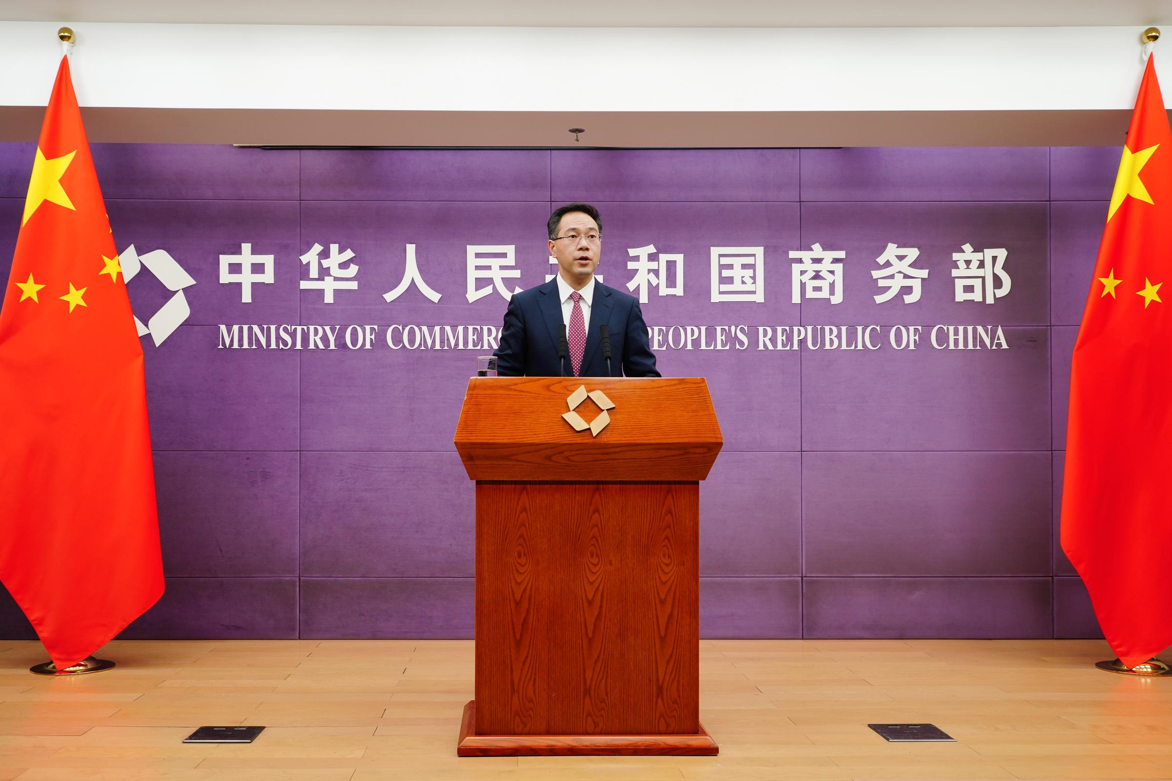 商务部新闻发言人高峰 澎湃新闻记者 周頔 摄