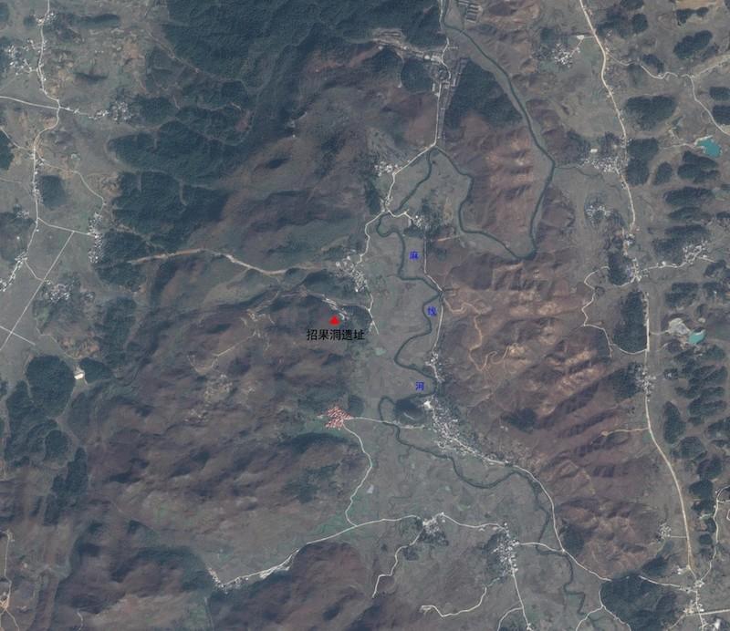招果洞遗址卫星像图片