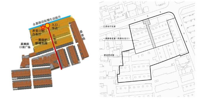 设计边界示意图(上图中一期范围计划于6月底完成房屋立面修缮)