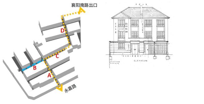 左为主弄路径、右为石库门正立面历史图纸