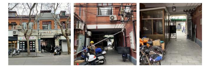 主入口现状照片(从左到右依次为主入口外立面、内部、门卫室)